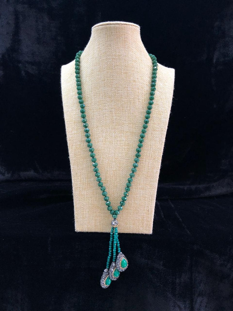 Garish Green Beaded Gemstone Necklace