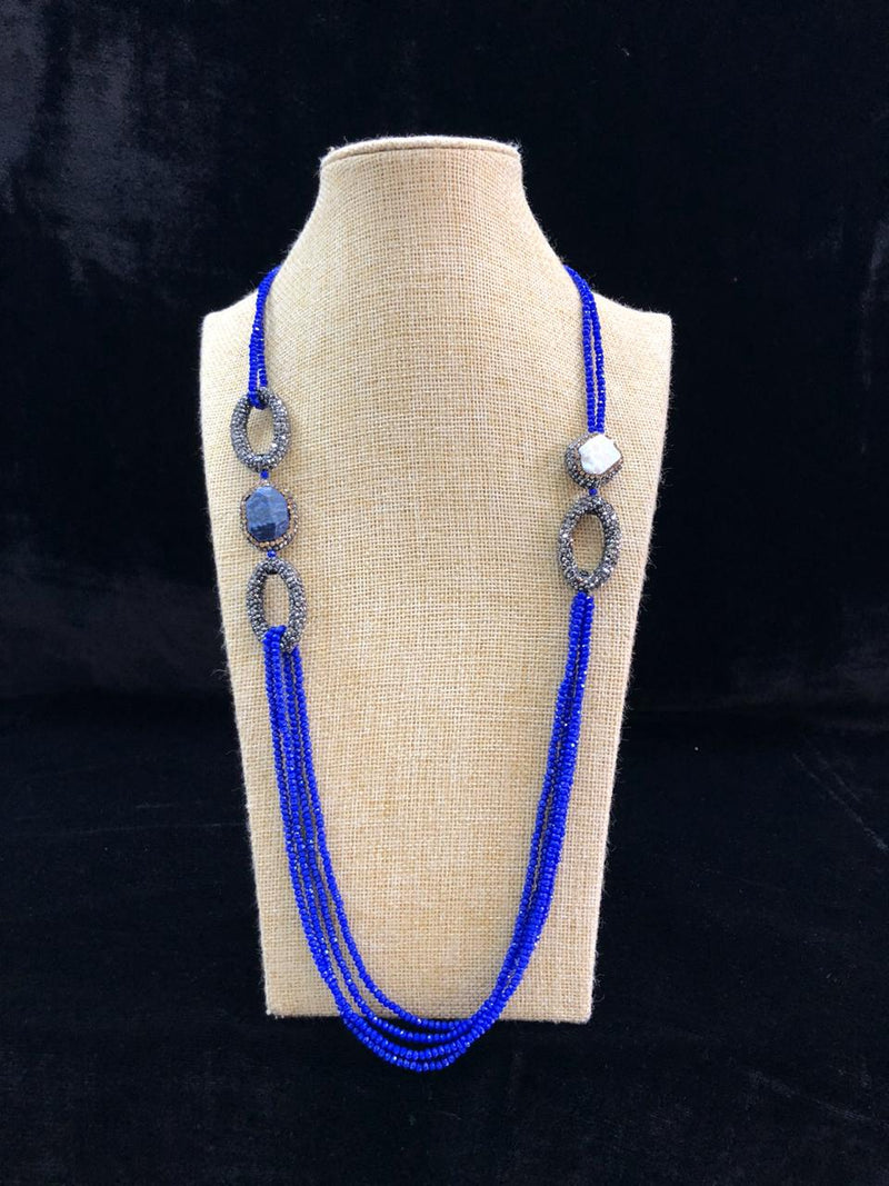 Exotic Violet Beaded Gemstone Necklace