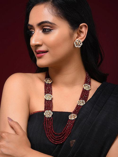 Maroon Close knit Jadau Necklace Set