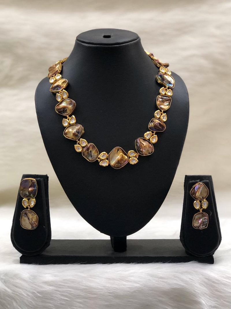 Preamble Brown Kundan Gemstone Necklace Set