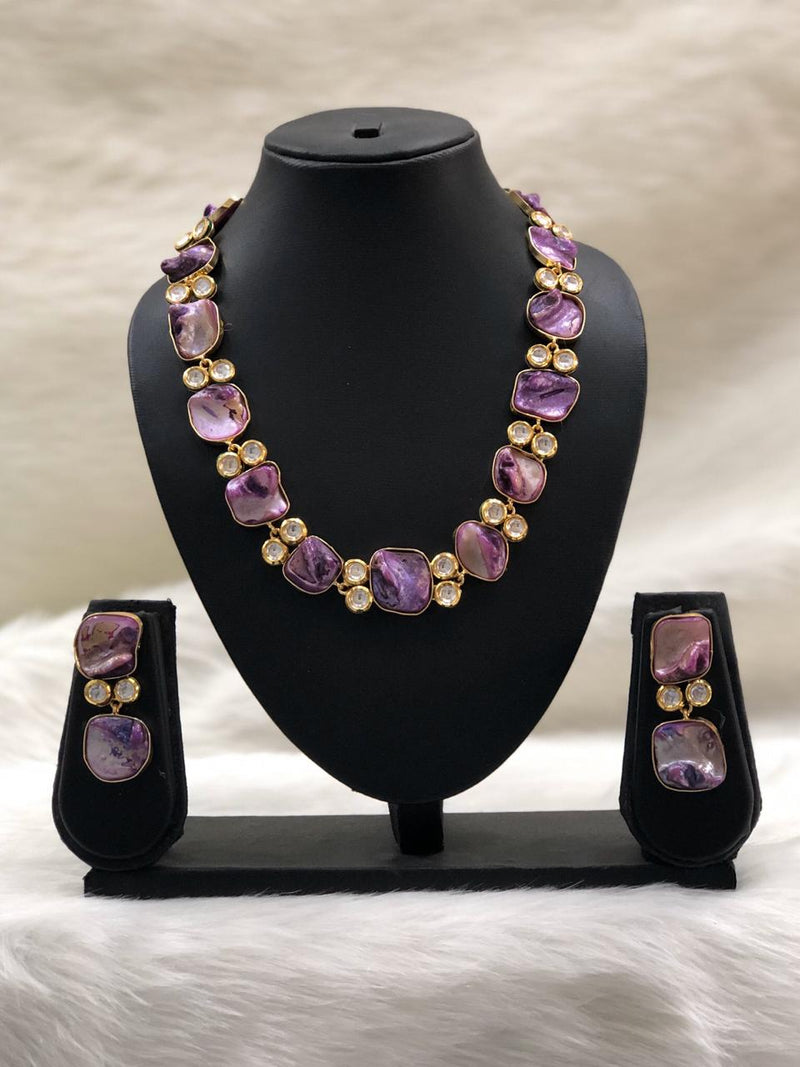 Preamble Purple Kundan Gemstone Necklace Set
