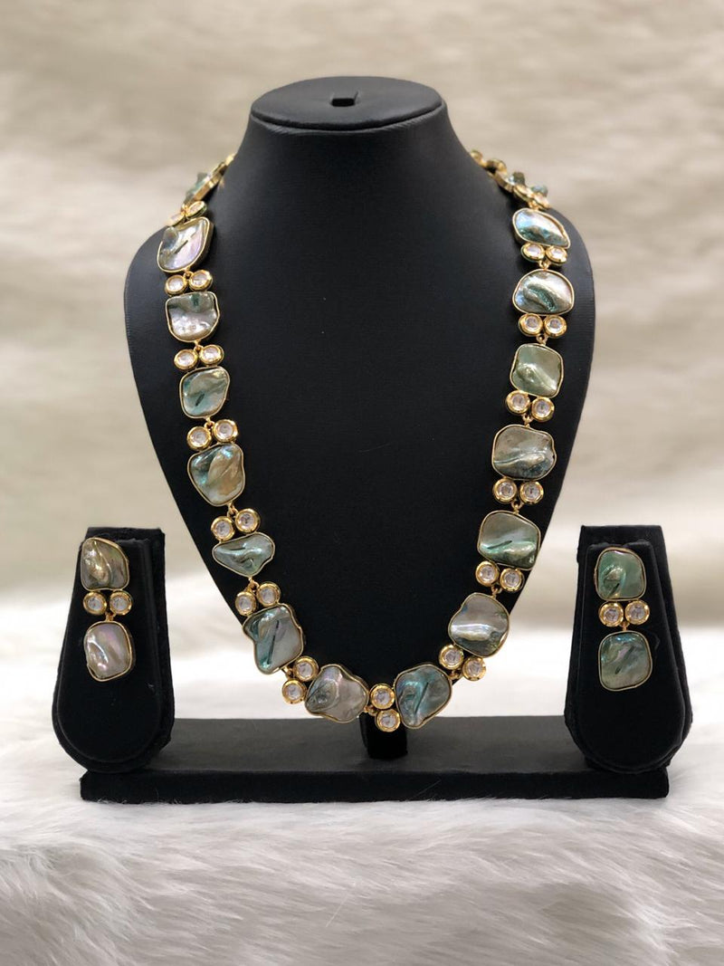 Preamble Teal Blue Kundan Gemstone Necklace Set
