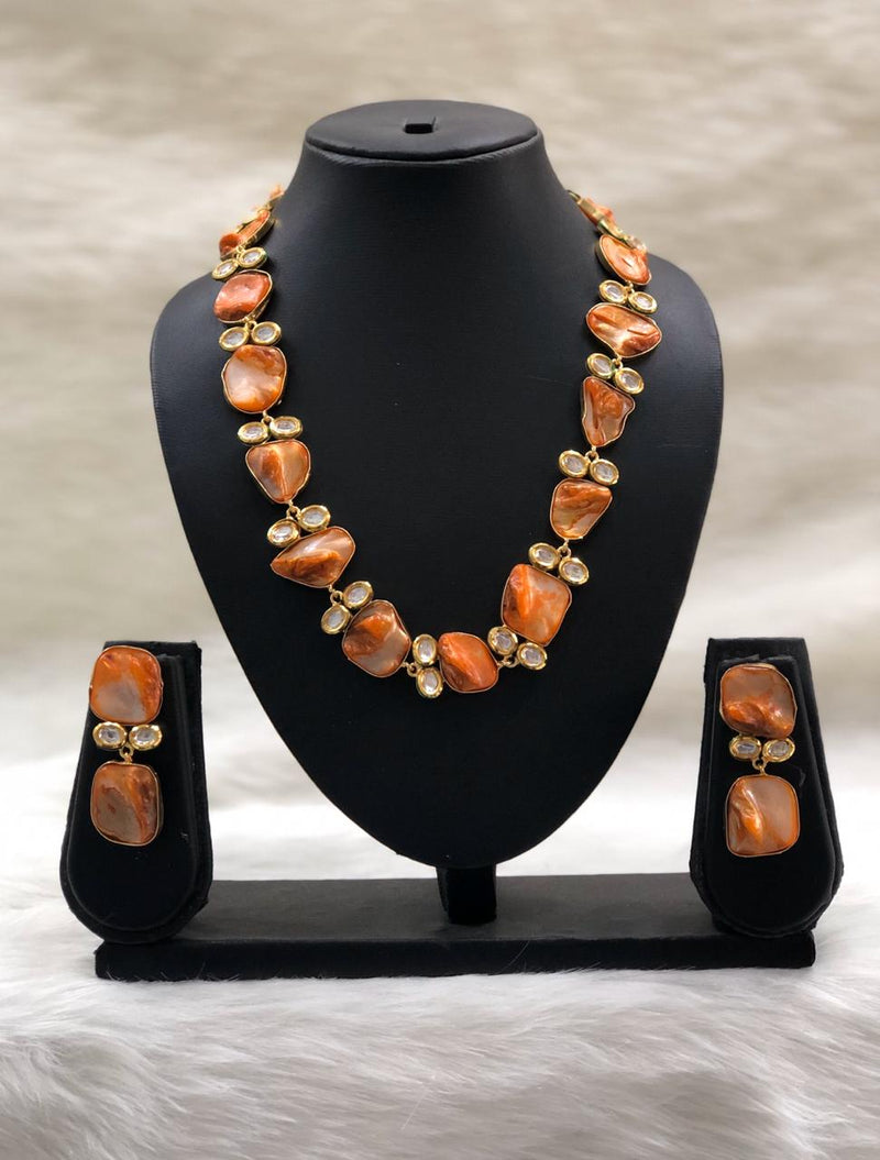 Preamble Orange Kundan Gemstone Necklace Set
