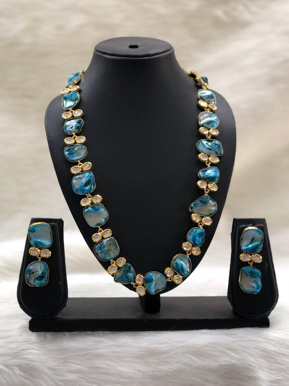 Preamble Dark Blue Kundan Gemstone Necklace Set