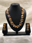 Preamble Purplish Orange Kundan Gemstone Necklace Set