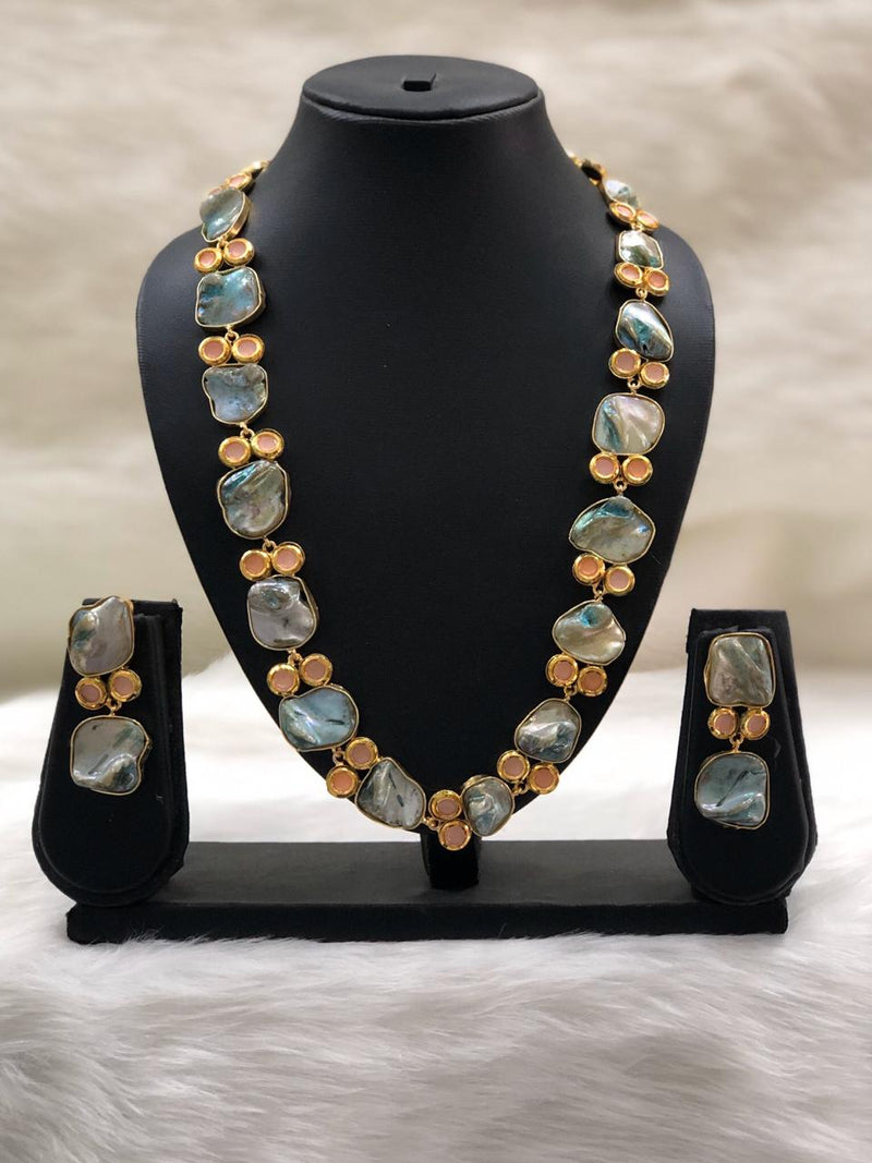 Preamble Sky Blue Kundan Gemstone Necklace Set