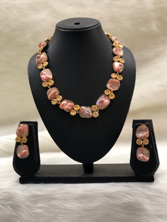 Preamble Shades of Pink Kundan Gemstone Necklace Set