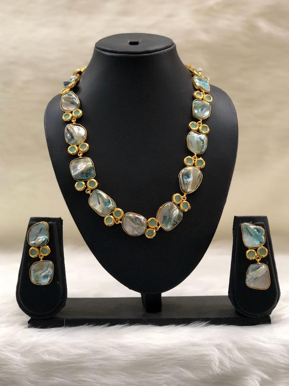 Preamble Arctic Blue Kundan Gemstone Necklace Set