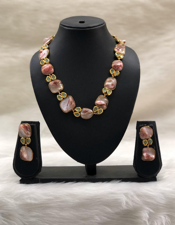 Preamble Lemonade Pink Kundan Gemstone Necklace Set