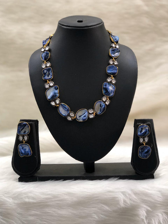Preamble Cobalt Blue Kundan Gemstone Necklace Set