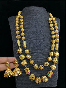 Florious Gold Plated Two Lines Necklace Set