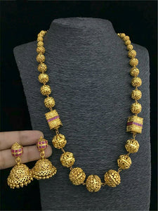 Florious Gold Plated Single Lines Necklace Set