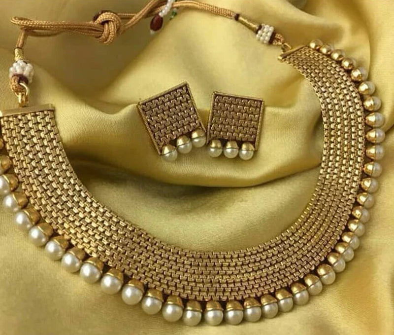 Shinning Gold Plated Pearl Ram Necklace Set