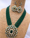 Green Crystal Decorative Kundan Necklace Set