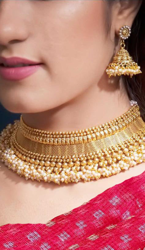 Designer Gold Plated Pearl Necklace-set
