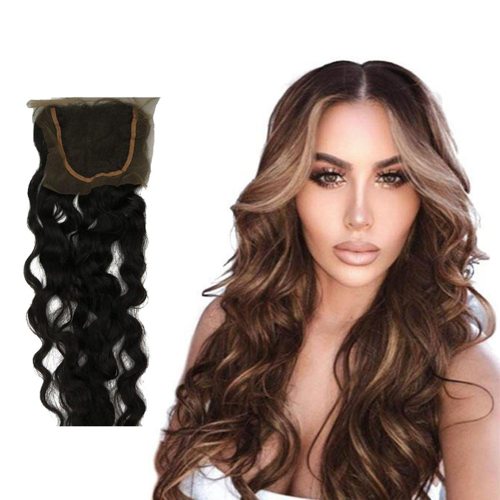 NATURAL WAVY WIG WITH 4X4 FRENCH FRONTAL CLOSURE-HUMAN HAIR-Darling Hair USA