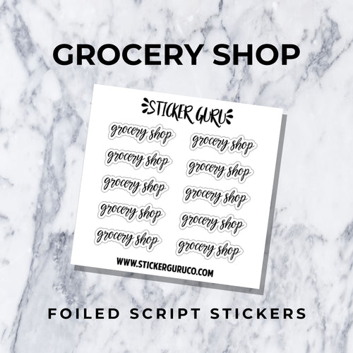 Grocery Shop // Foiled Script Stickers