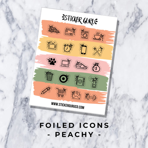 Peachy // Foiled Icon Stickers
