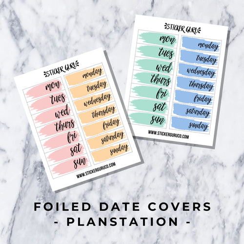 Planstation (Animal Crossing) // Foiled Date Covers Stickers