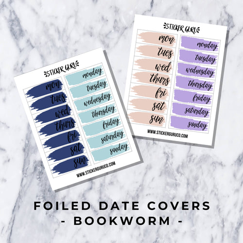 Bookworm // Foiled Date Covers Stickers