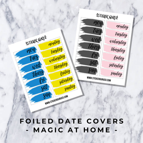 Magic at Home // Foiled Date Covers Stickers