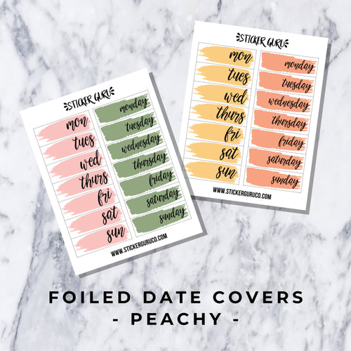 Peachy // Foiled Date Covers Stickers
