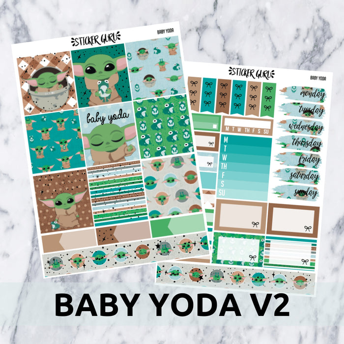 Baby Yoda V2 // Silver Foil Essentials Weekly Sticker Kit