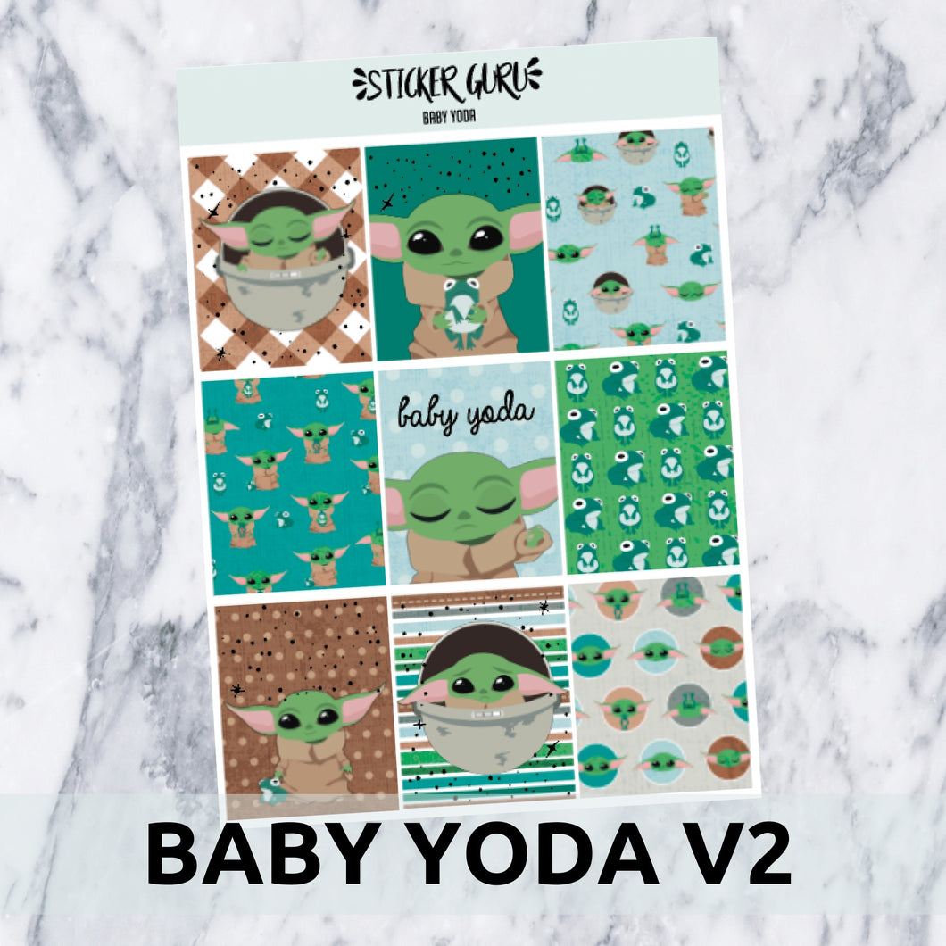 Baby Yoda V2 // Silver Foil Full Weekly Sticker Kit With *A-La-Carte*
