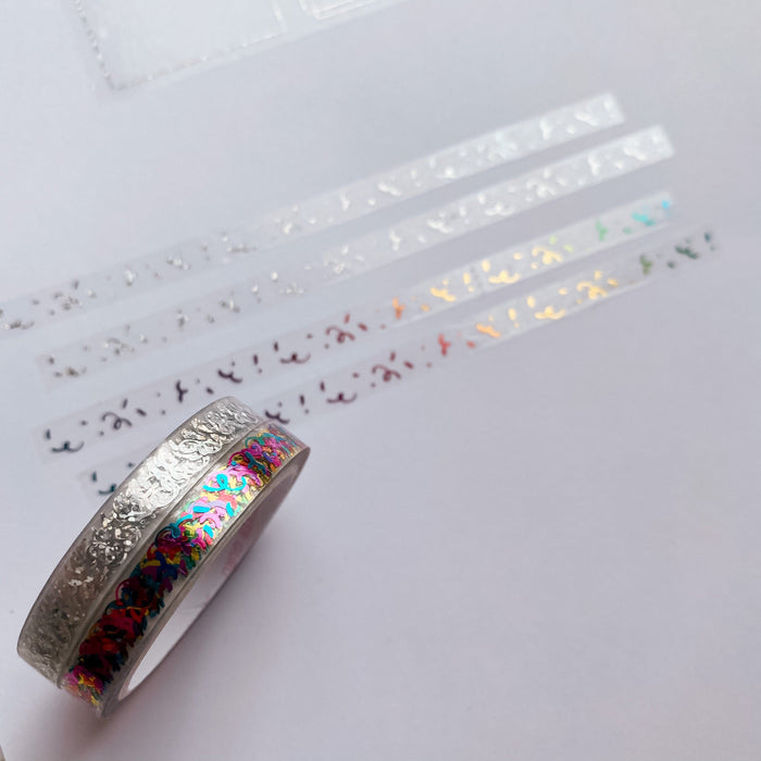 Confetti - Foiled Clear Perforated Header Tapes