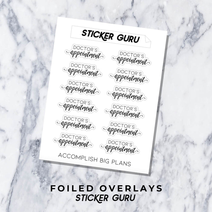 Doctor's Appointment // Foiled Script Stickers