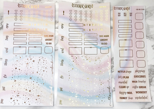 Pastel Rainbow // Rose Gold Foil Hobonichi Weeks Sticker Kit