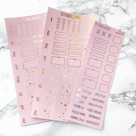 Pink // Rose Gold Foil Hobonichi Weeks Sticker Kit