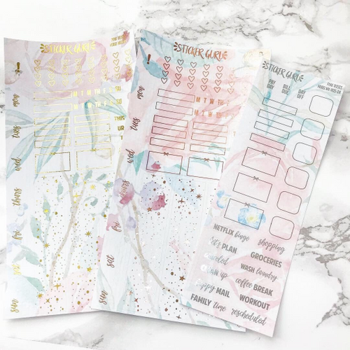 Pink Roses // Rose Gold Foil Hobonichi Weeks Sticker Kit