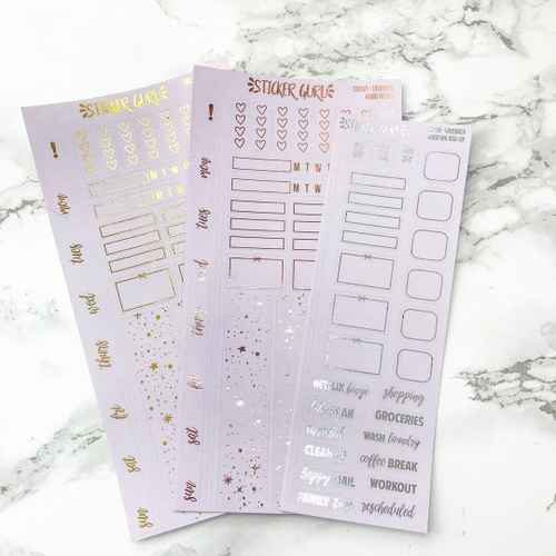 Lavender // Silver Foil Hobonichi Weeks Sticker Kit