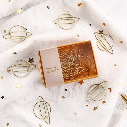3 LEFT! Gold Planet Paper Clip
