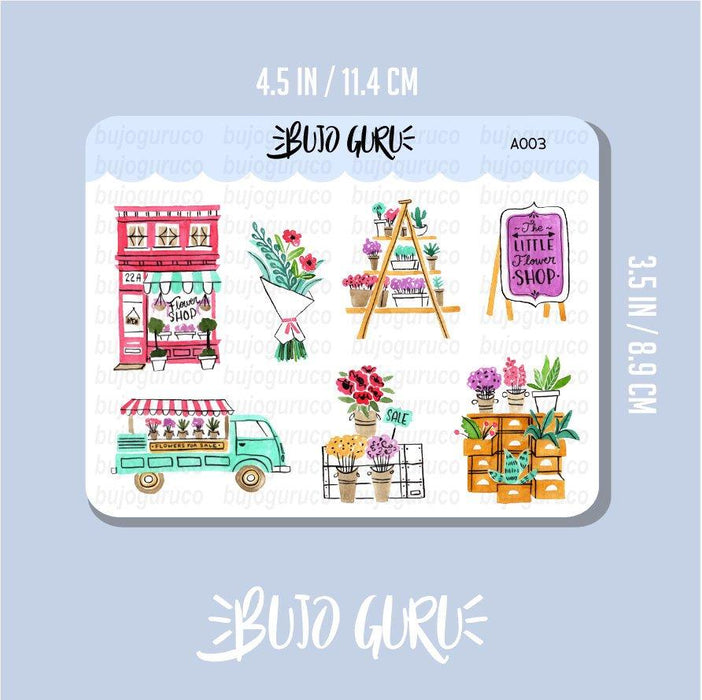 Flower Shop Watercolor Stickers