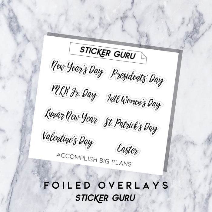 Holidays Pt. 1 // Foiled Script Stickers