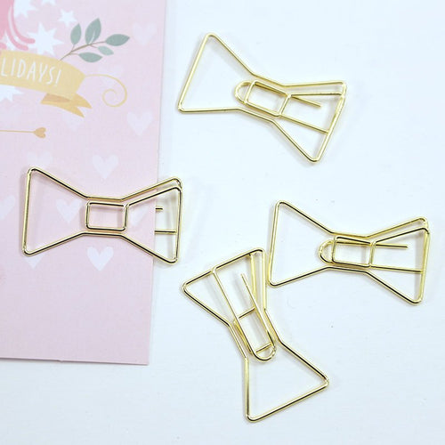 2 LEFT! Gold Bow Paper Clip