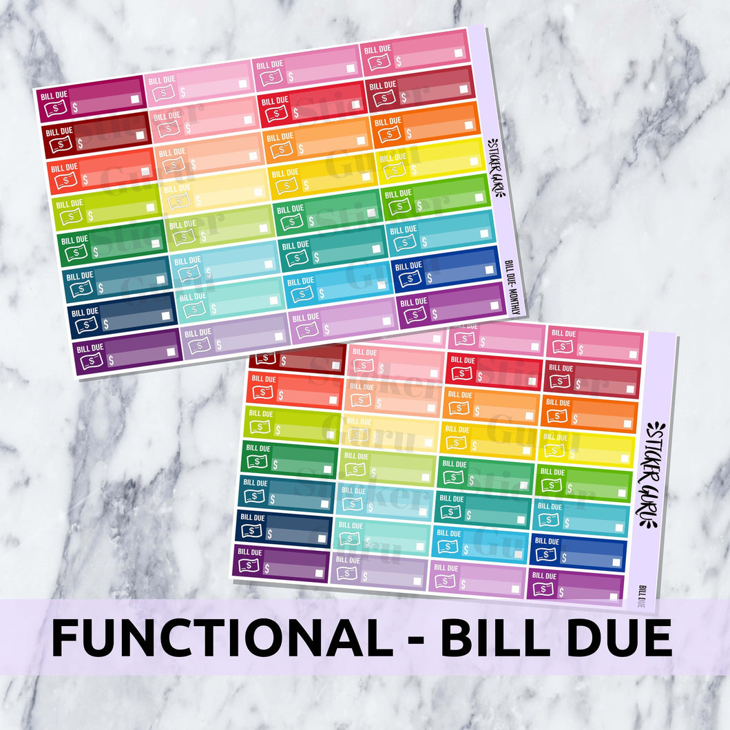 Bill Due Stickers // Functional Planner Stickers
