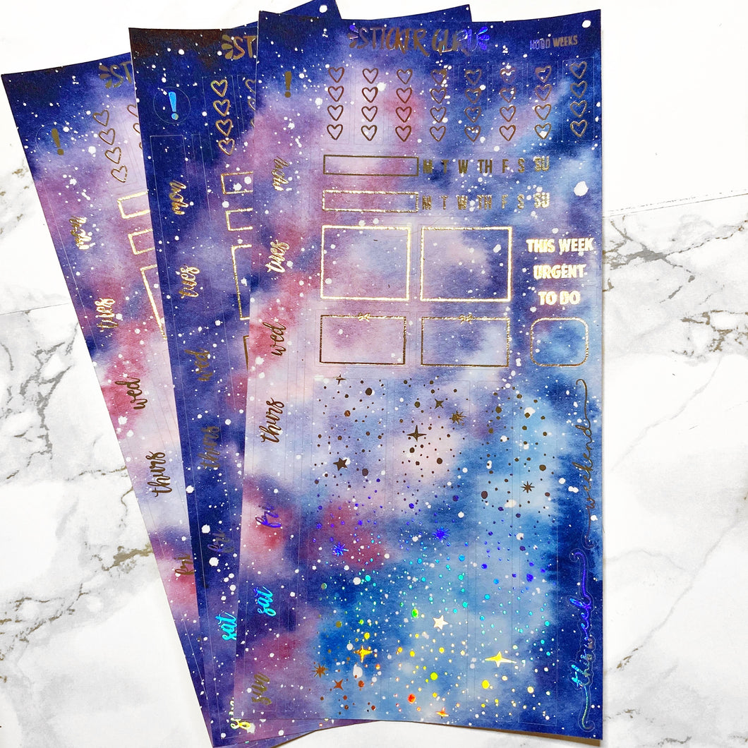 Milky Way // Holographic Foil Hobonichi Weeks Sticker Kit