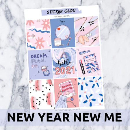 New Year New Me // Light Gold Foil Full Weekly Sticker Kit With *A-La-Carte*