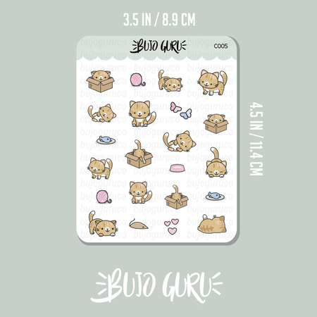 Orange Cat Kitty Kitten Stickers