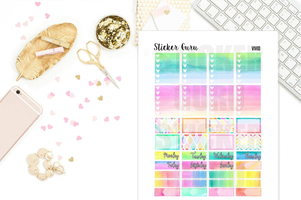 Vivid Rainbow // Printable Sticker Kit // PDF Files