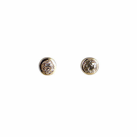 B.C.E. 14k Yellow Gold Bezel Set Diamond Earrings