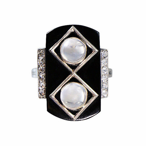 Antique Art Deco French Platinum Onyx Moonstone Diamond Ring