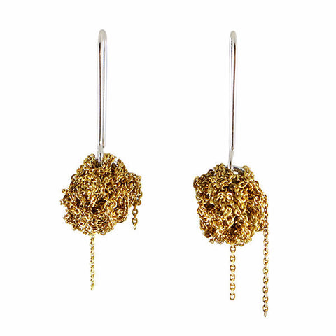 Arielle de Pinto Hook Bead Earrings in Gold on Hooks