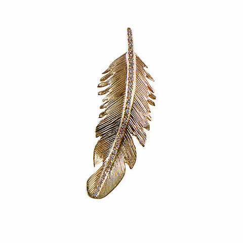 Louison Fine 14k & White Diamond Feather Pendant