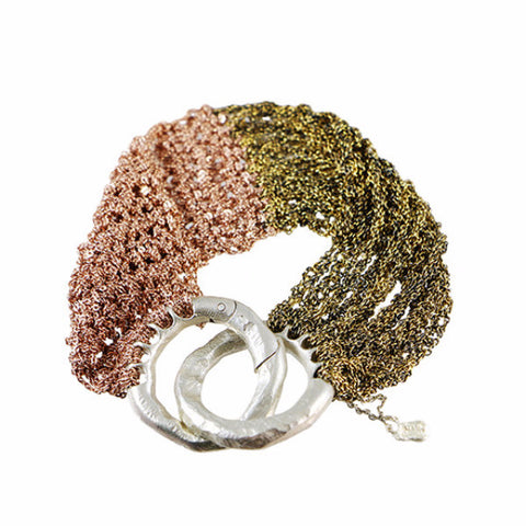 Arielle de Pinto Burnt Gold and Rose Buxom Bracelet with Interlocking Clasp