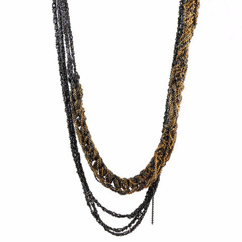 Arielle de Pinto Baroque Slim Necklace Midnight & Gold
