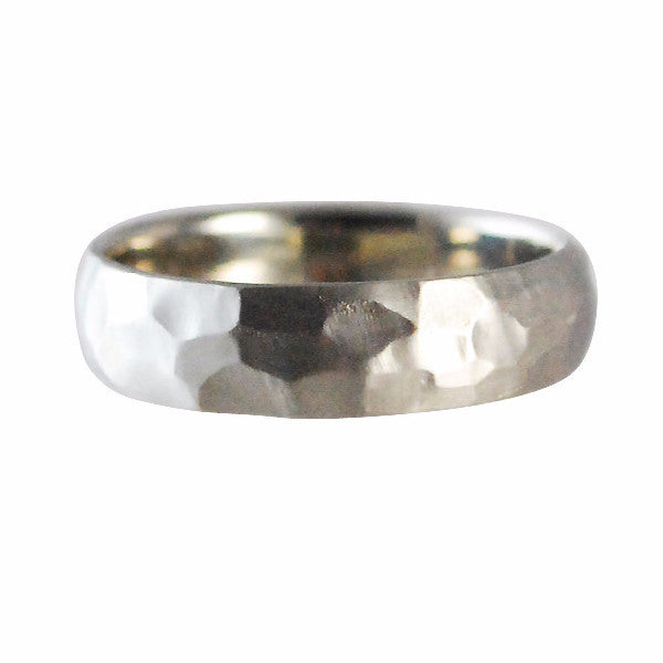 Rebecca Overmann Men's White Gold Hammered Band Ring